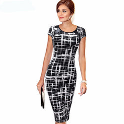Summer Women Dresses Short Sleeve Plaid Stretch Plus Size