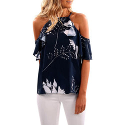 ruffles off shoulder Printing Tops