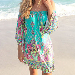 Womens Off Shoulder Floral Mini Sundress
