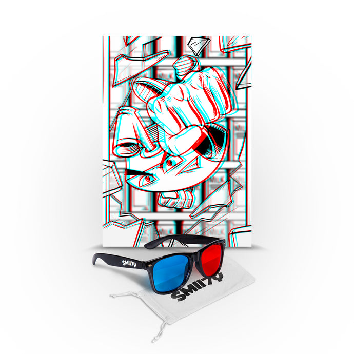 SMII7Y® | 3D SUNGLASSES + POSTER BUNDLE (BLACK) LIMITED EDITION