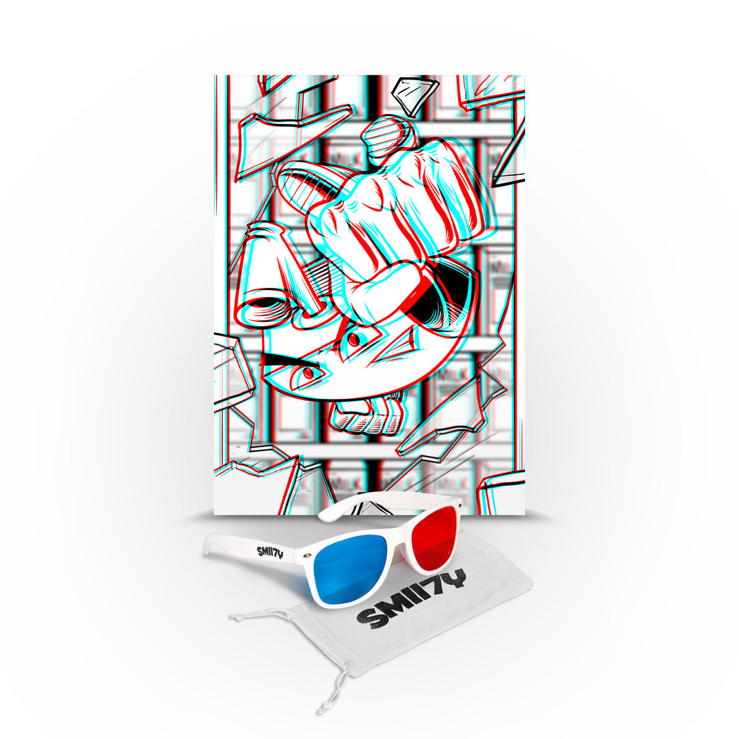 SMII7Y® | 3D SUNGLASSES + POSTER BUNDLE (WHITE) LIMITED EDITION