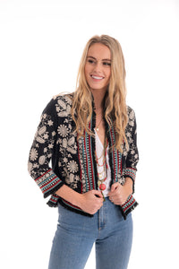Embroidered Crop Jacket