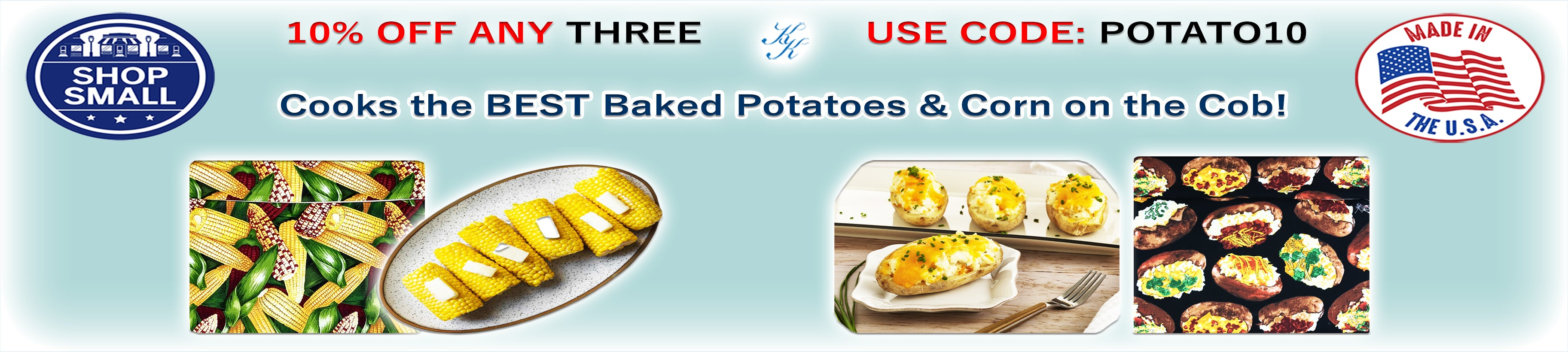 Microwave potato bags by Karen's Kases, buy 3 get 10% off, use code: potato10