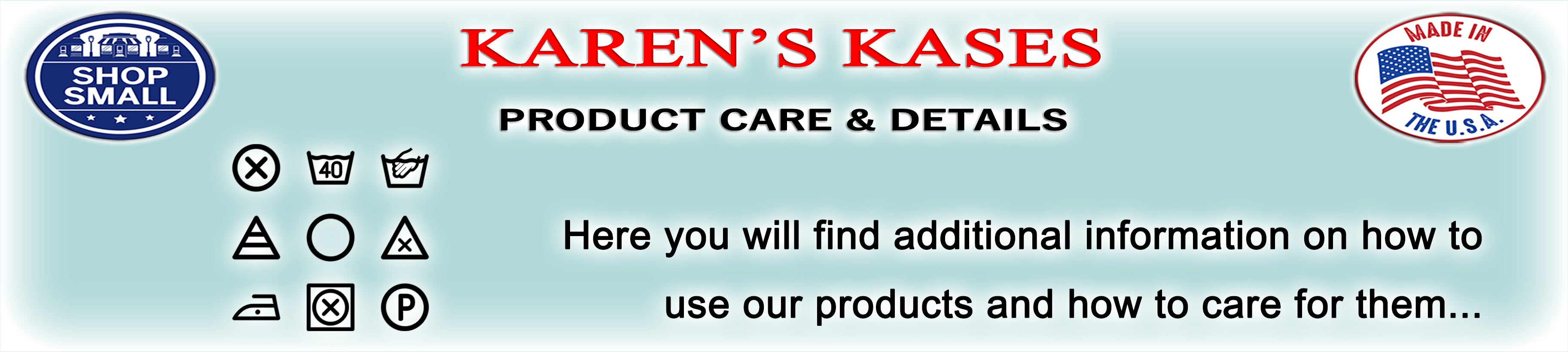 Karen's Kases Product Instructions Page