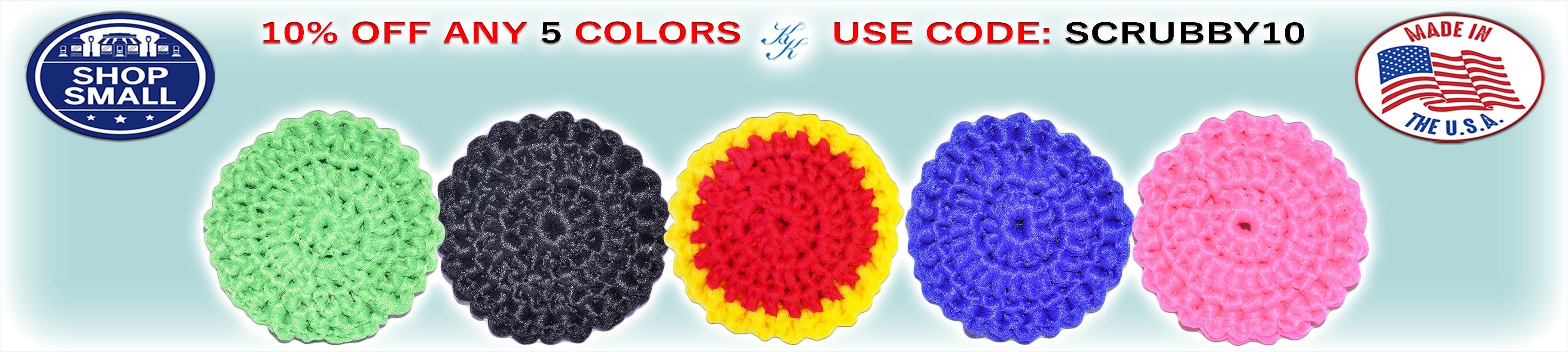 Scrubbies by Karen's Kases, buy 5 of any color and get 10% off, use code: scrubby10!