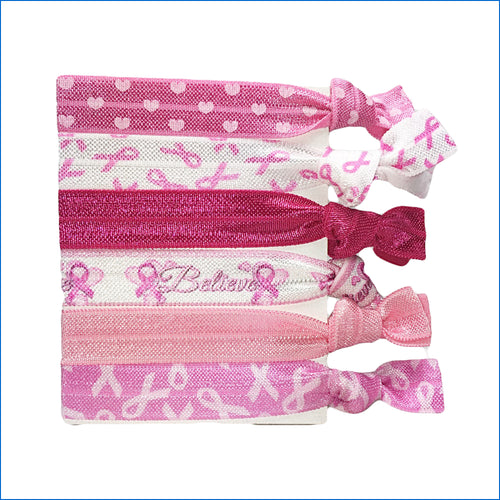 Breast Cancer Believe Elastic Hair Ties - Karen's Kases