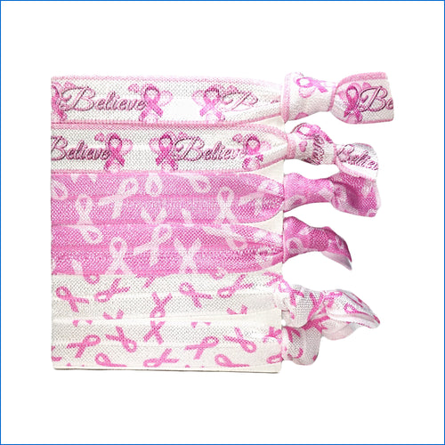 Breast Cancer Elastic Hair Ties - Karen's Kases