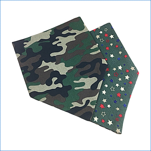 Camo and Stars Dog Bandana - Karen's Kases