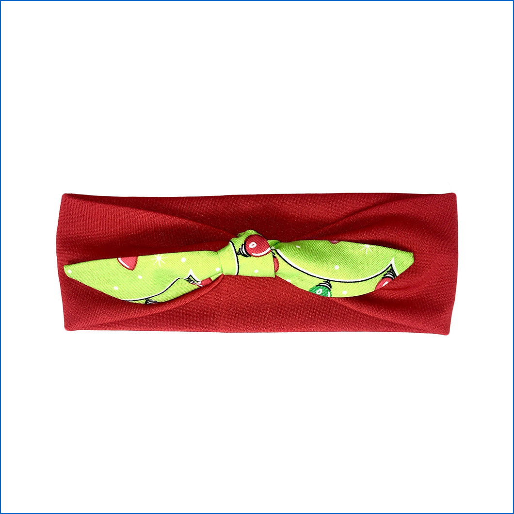 Christmas Lights on Red Urban Headband - Karen's Kases