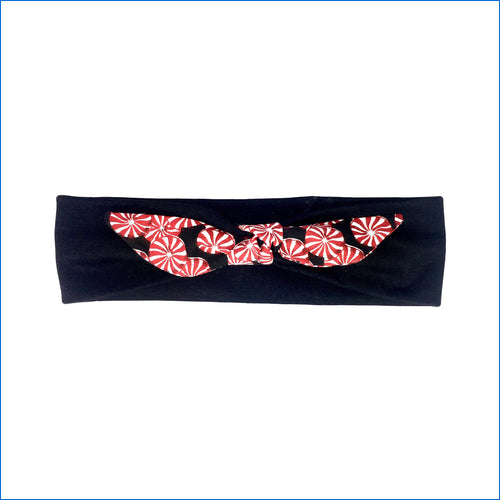 Christmas Peppermint Candy on Black Urban Headband - Karen's Kases
