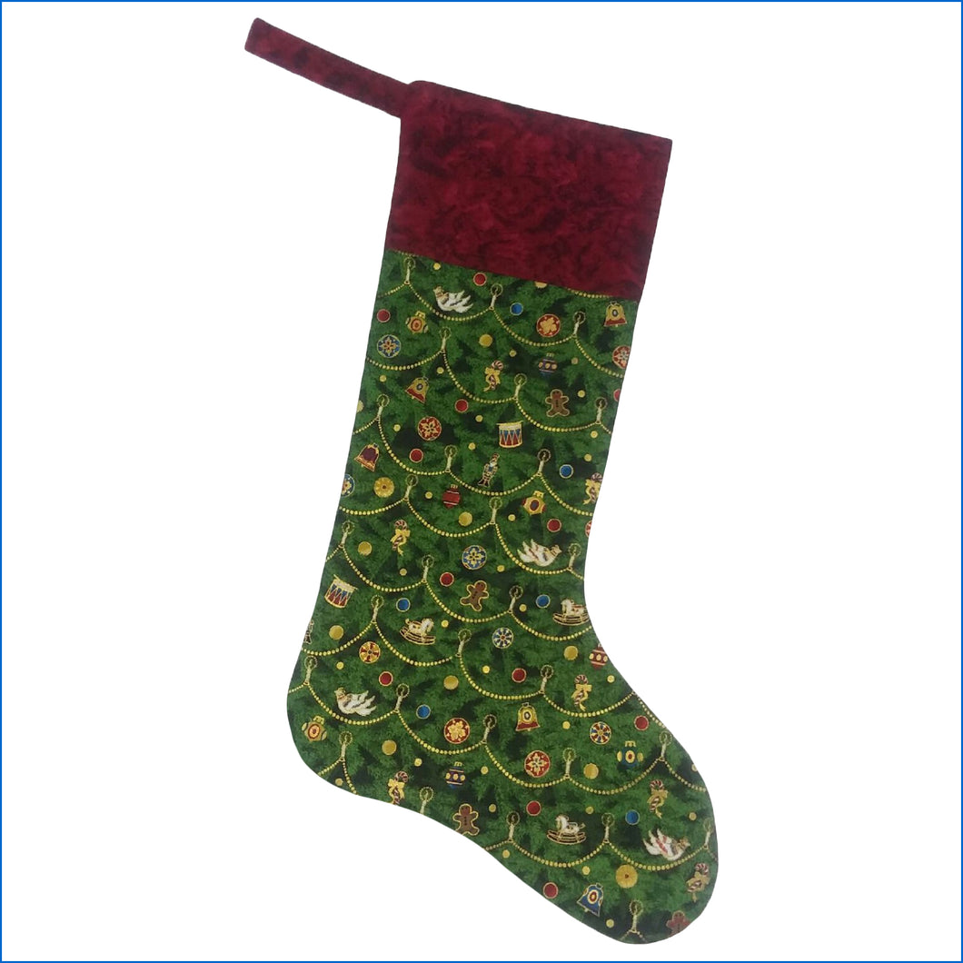 Decorated Tree Christmas Stocking - Karen's Kases