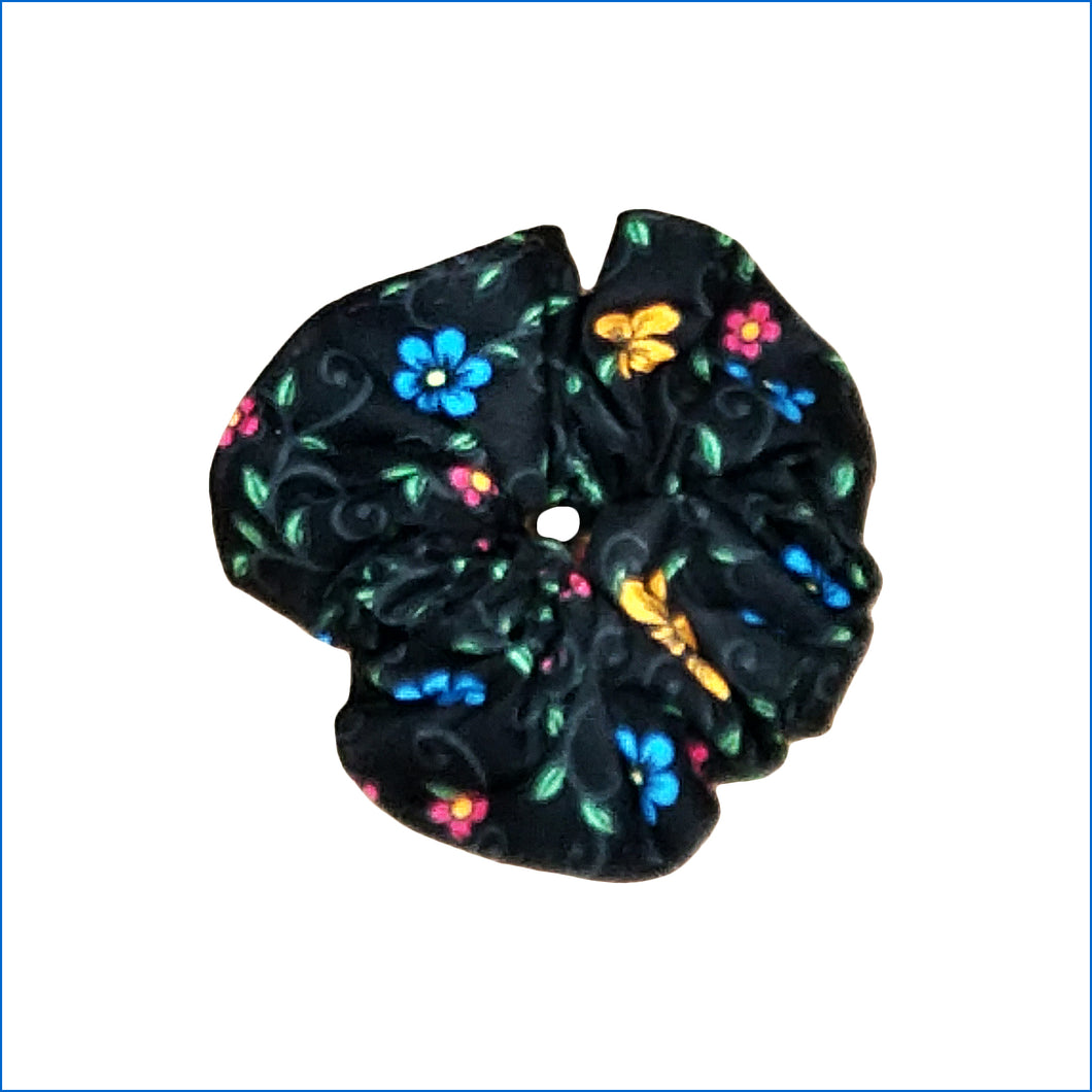 Flowers on Black Scrunchie - Karen's Kases