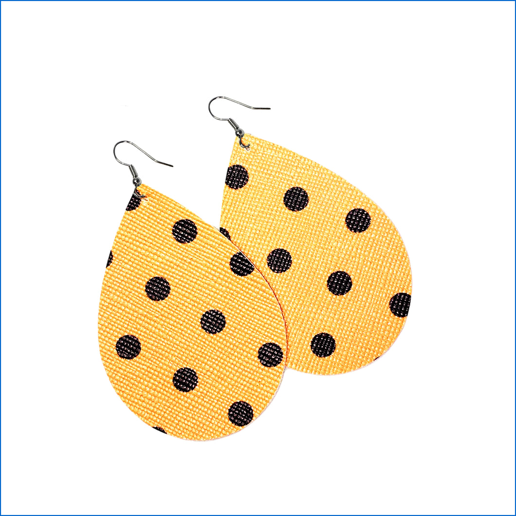 Gold with Brown Dots Faux Leather Teardrop Earrings