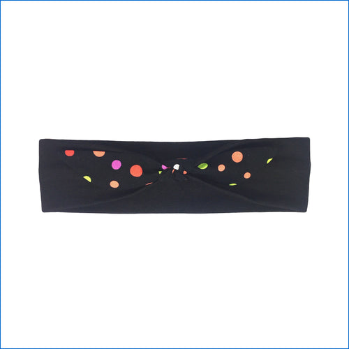 Polka Dots on Black Urban Headband - Karen's Kases