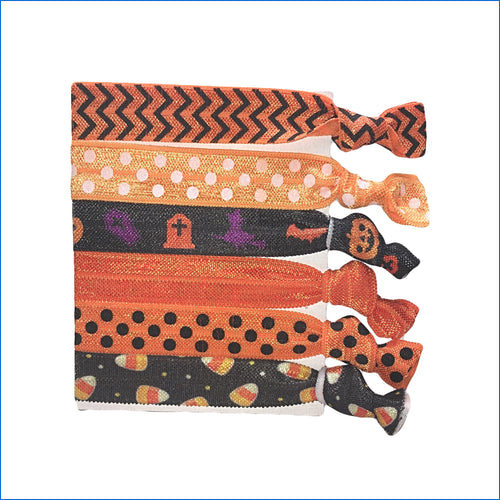 Halloween Sweet Corn Orange Polka Dot Elastic Hair Ties - Karen's Kases