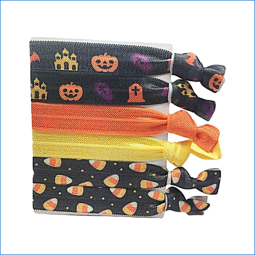 Halloween Sweet Corn Pumpkins Orange Elastic Hair Ties - Karen's Kases