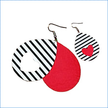 Hearts Faux Leather Teardrop Earrings