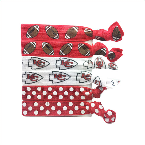 KC Chiefs and Footballs Elastic Hair Ties - Karen's Kases