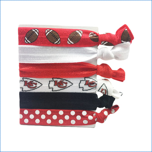 KC Chiefs Red and Black Elastic Hair Ties - Karen's Kases