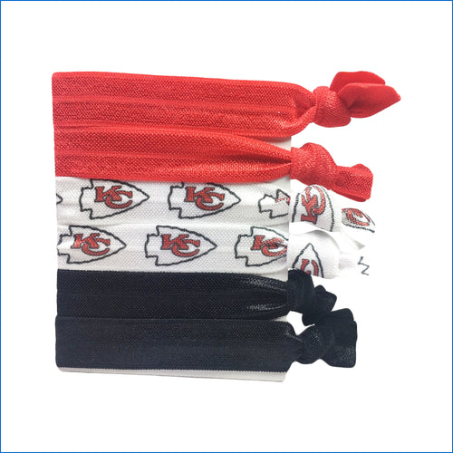 Kansas City Chiefs Red and Black and White Elastic Hair Ties - Karen's Kases