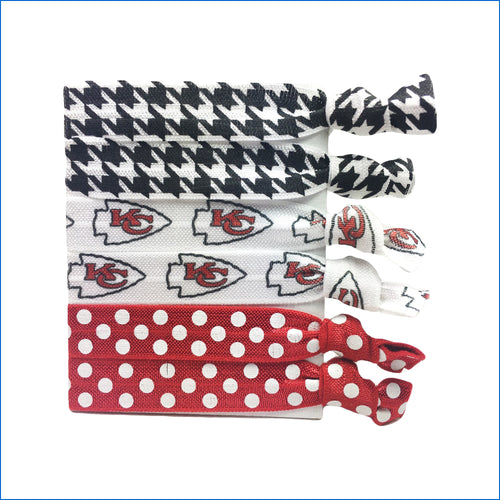 Kansas City Chiefs Red and Polka Dot Elastic Hair Ties - Karen's Kases