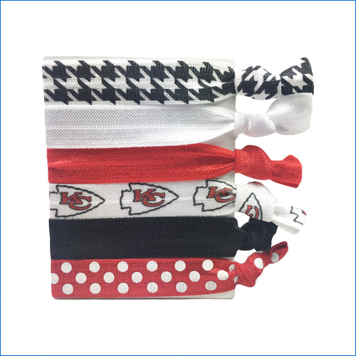 Kansas City Chiefs Red and White Elastic Hair Ties - Karen's Kases