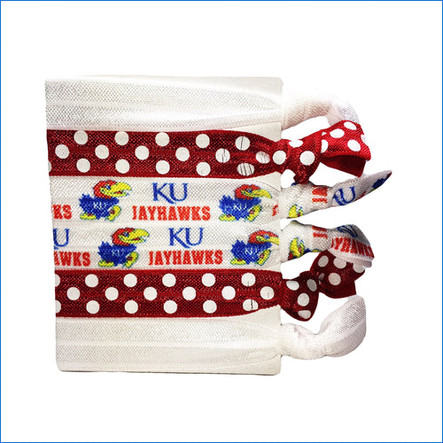 Kansas Jayhawks Red Polka Dots and White Elastic Hair Ties - Karen's Kases