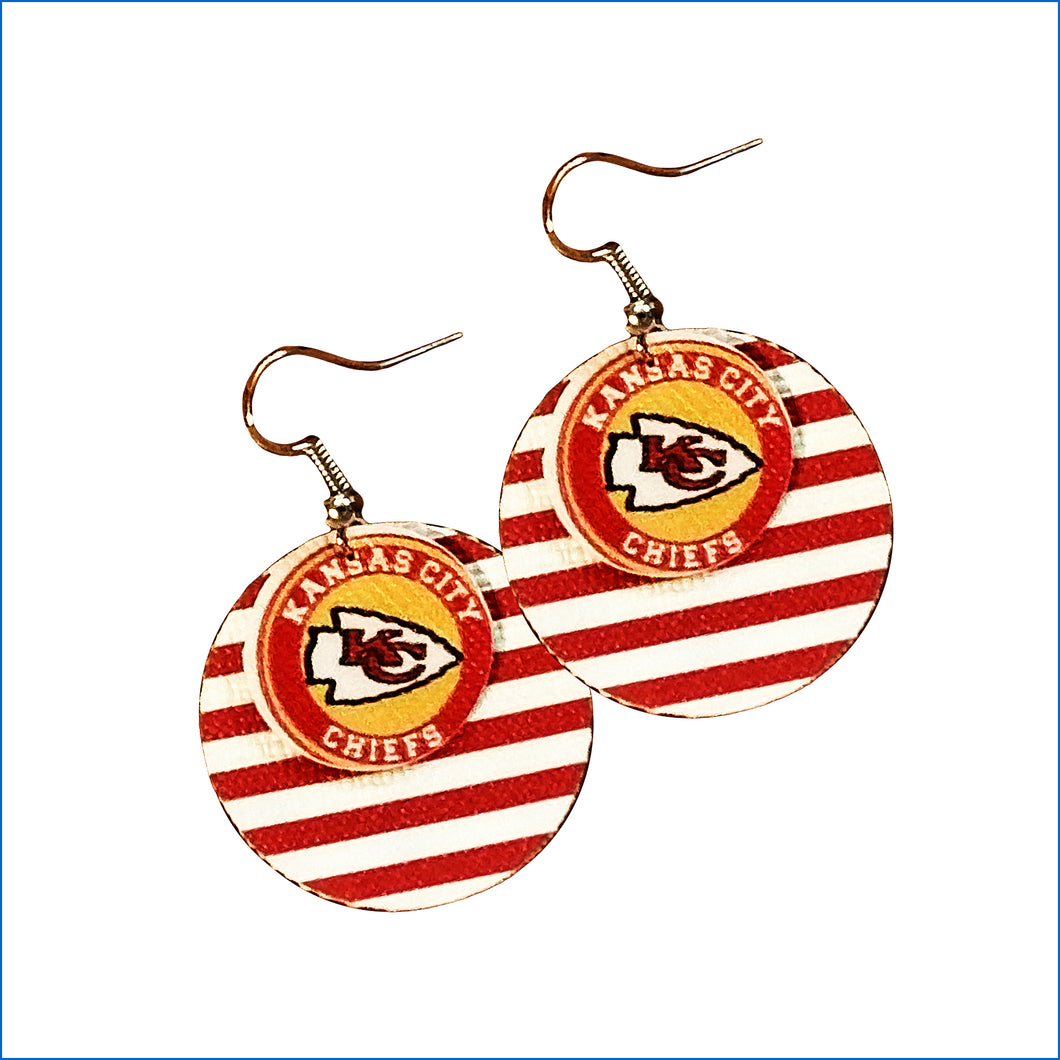 Kansas City Chiefs Faux Leather Teardrop Earrings