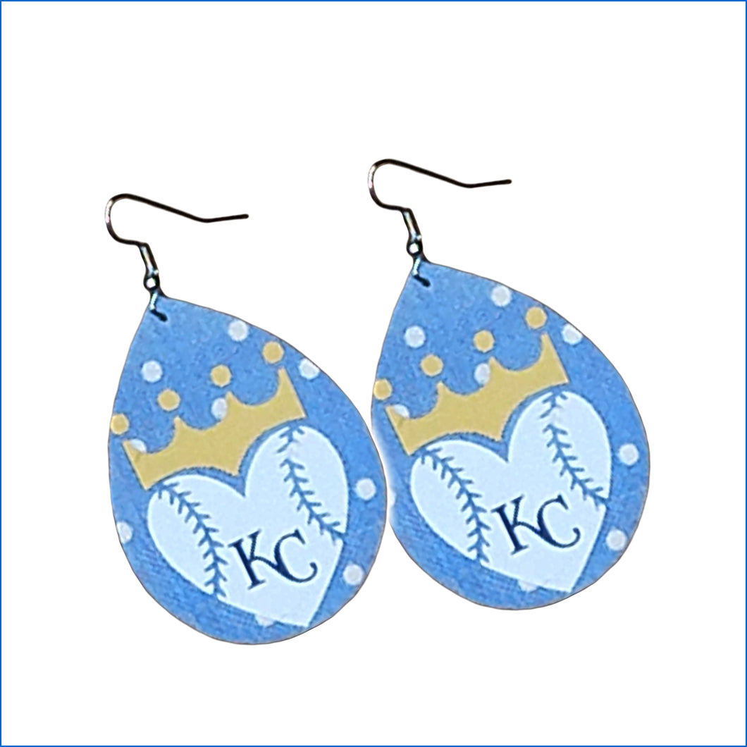Kansas City Royals Baby Blue Faux Leather Teardrop Earrings