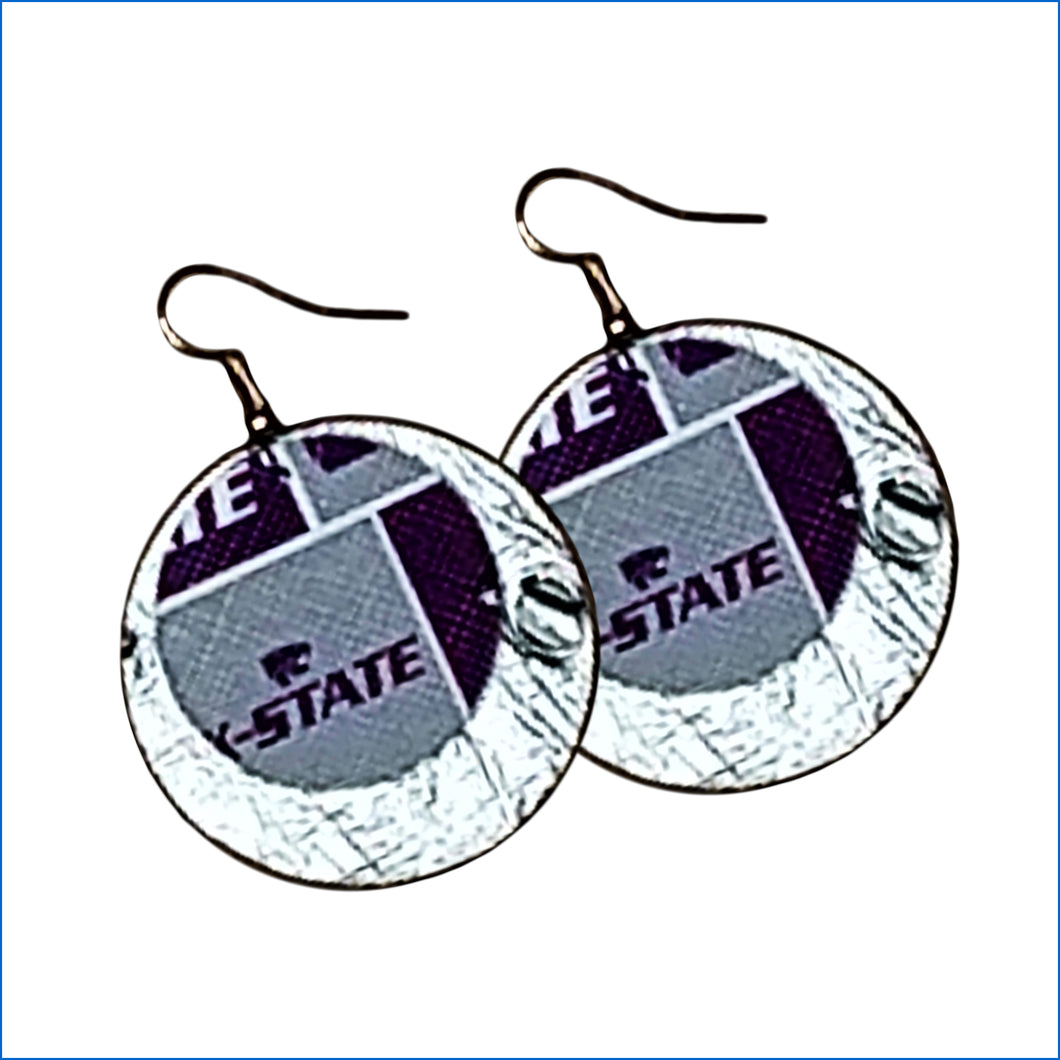 Kansas State Wildcats Faux Leather Earrings