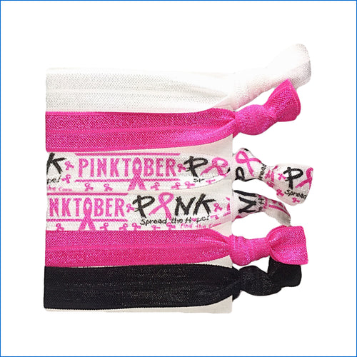 Breast Cancer White Pinktober Elastic Hair Ties - Karen's Kases