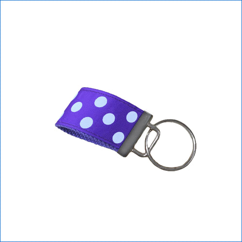 White Polka Dots on Purple Mini Key Fob - Karen's Kases