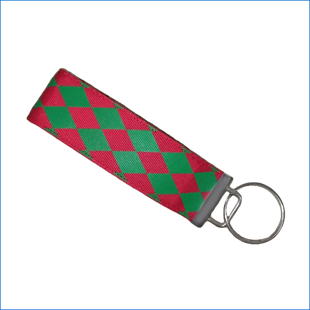 Red Green Harlequin Key Fob - Karen's Kases