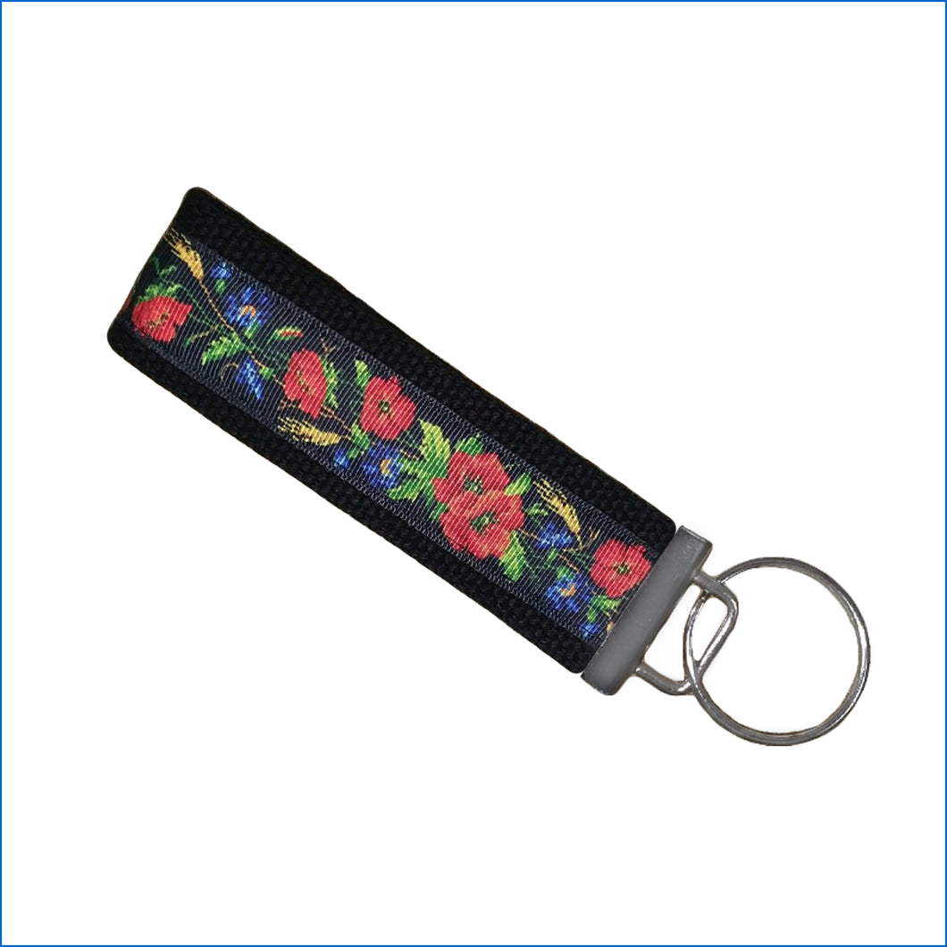 Red Poppy's with Blue Flowers Key Fob - Karen's Kases