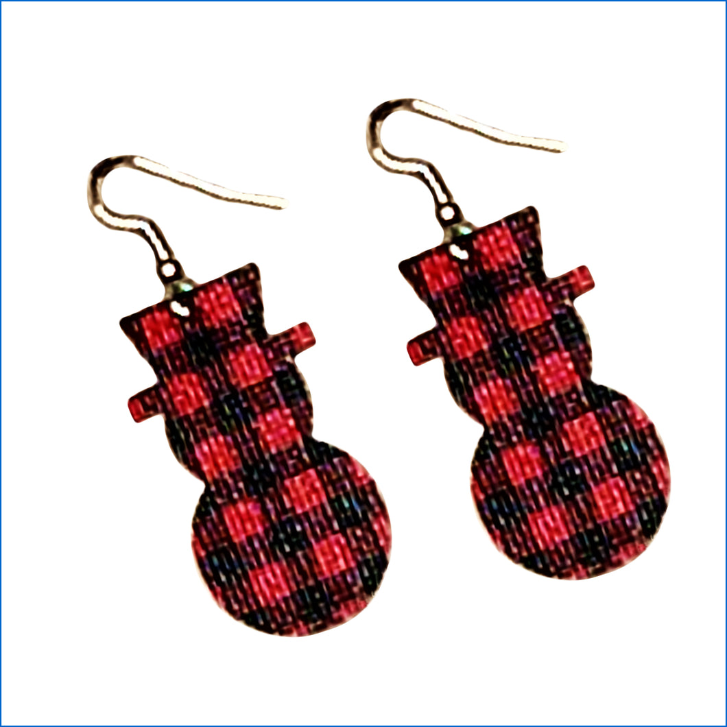 Red and Black Plaid Snowman Faux Leather Teardrop Earrings