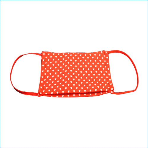 Red with White Hearts Face Mask