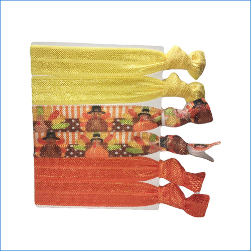 Thanksgiving Turkeys Yellow and Orange Elastic Hair Ties - Karen's Kases
