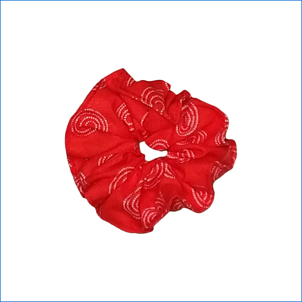 White Spiral on Red Scrunchie - Karen's Kases