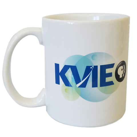 Traditional White Coffee Cup Style Mug with KVIE logo