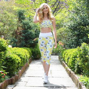 Gardenia in Lemon High Waist Capris BACK IN STOCK - Call Me Activewear