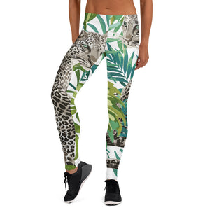 Cheetah Jungle in White Leggings - Call Me Activewear