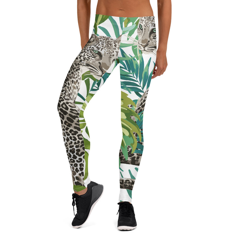 Cheetah Jungle in White Leggings