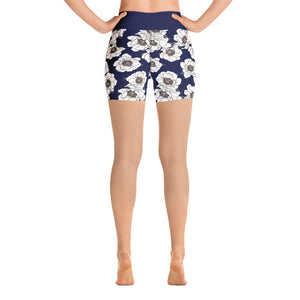 Gardenia Bali High Waist Shorts in Navy - Call Me Activewear
