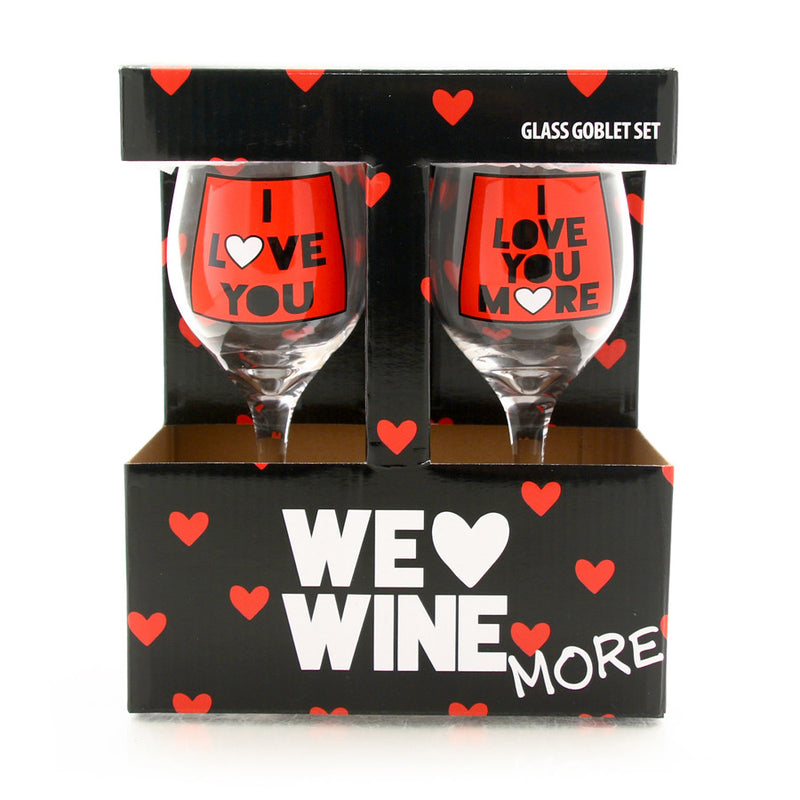 Love You Wine Glass Set