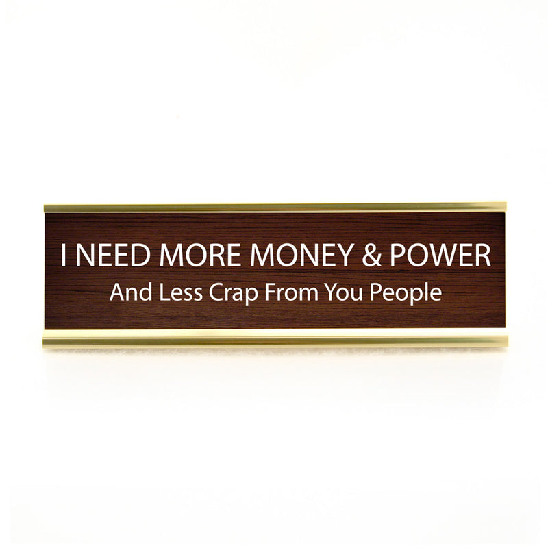 Funny Desk Plate Money &Power