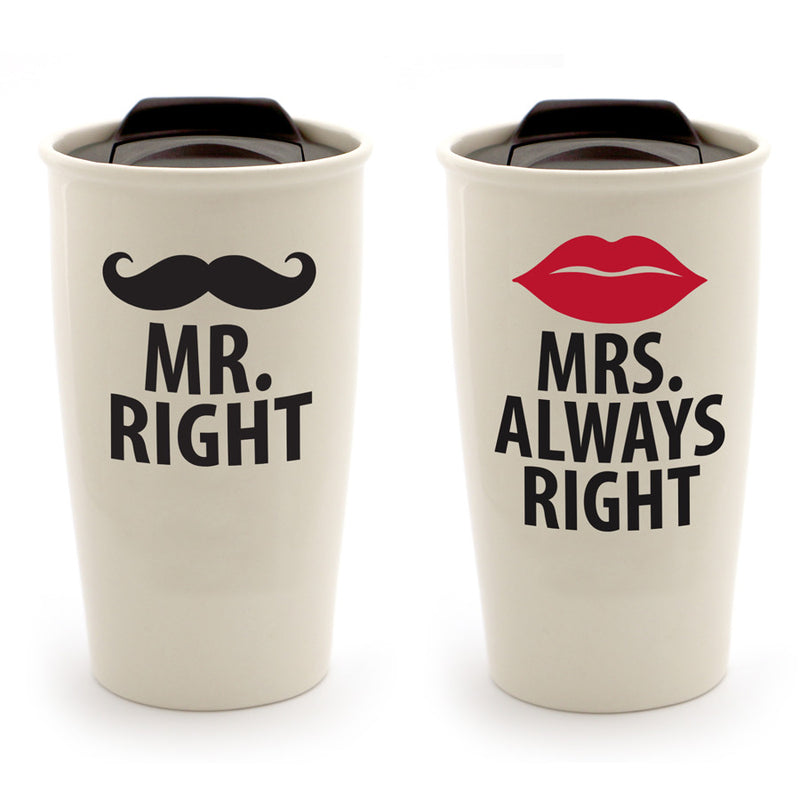 Mr. Mrs.  Right Travel Mug Set