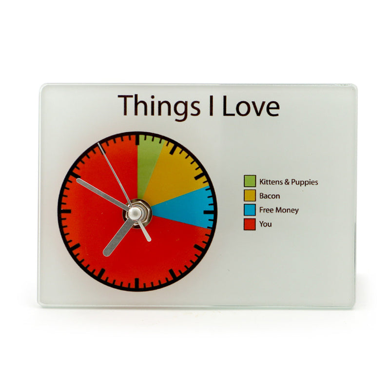 I Love You Pie Chart Clock