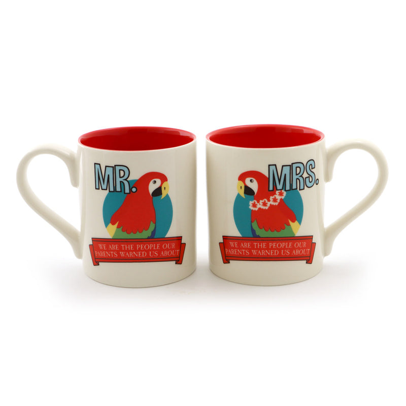 Mr and Mrs Parrot Head Mug Set
