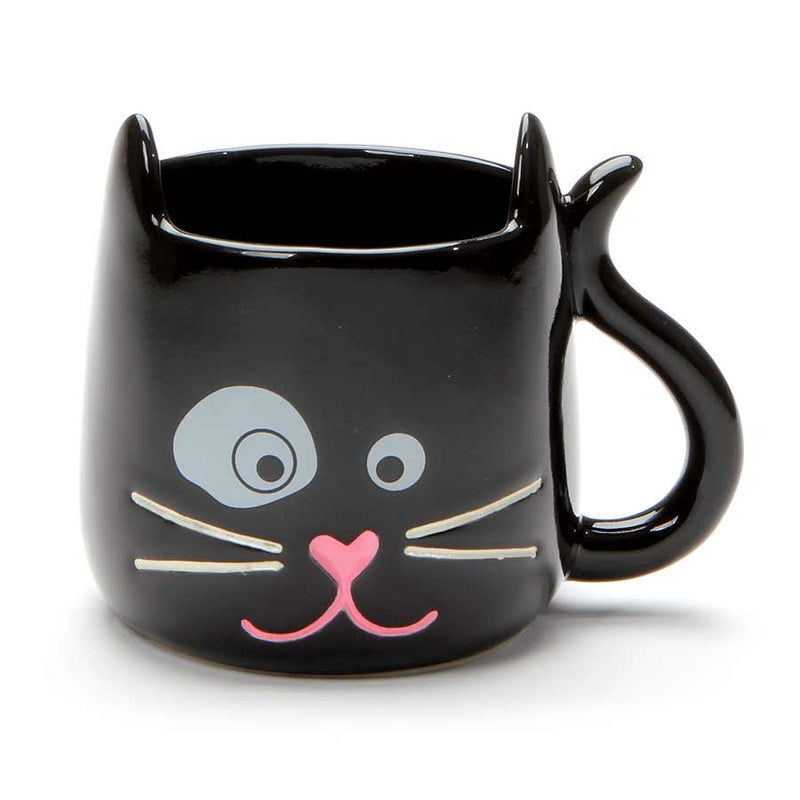 BLACK SCULPTED CAT MUG