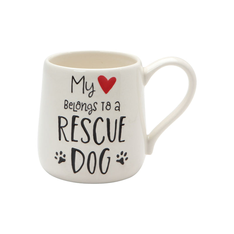 HEART RESCUE DOG ETCHED MUG
